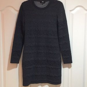 Grey long sleeve patterned textured grey dress